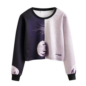 Womens Cat Claw Splicing Print Long Sleeve Hoodie Sweatshirt Casual Cool Chic New Look Standard Daily Cute Pullover Crop Top