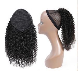 Афро кудрявый вьющиеся хвост человеческих волос Реми бразильский шнурок хвост 1 шт клип в наращивание волос 1b конский хвост