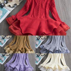 2019 autumn children's skirt children's sweater dress clothing knitted long sleeve girl princess ougen yarn sweater skirt