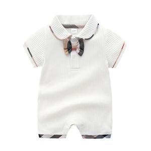 Verão Meninos Do Bebê Designer Romper Stripe Bow Meninas de Manga Curta Lapela Macacão Recém-nascido Moda Algodão Bodysuit Infantil INS Onesie C4218