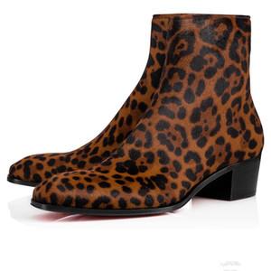Fall / Winter Gentlemany Mode Männer Knöchelstiefel Rote Bottom Ziggissimo Leoparden-Druck Ponyhaar Kubanische Boot Silhouette Herrenstiefel EU38-46