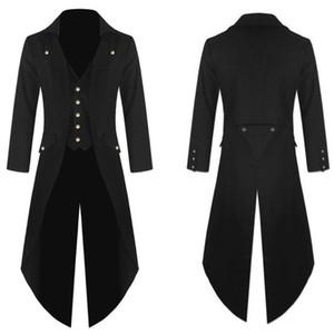 Vestido retro de la capa de vapor Camisetas punk gótico Escudo de la correa larga de la manera rompevientos Negro Steampunk remiendo femenino vestido