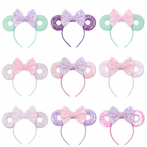Bebek Saç Fare Ears Saç Bandı Glitter Payetler Yaylar Donut Kafa Çocuk Cosplay Headdress Hoop Çocuk Saç Aksesuarları 15ColorZYQ33 Sticks