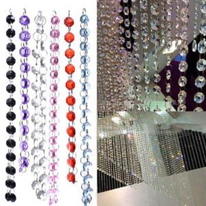 Boda 1m cortina cristalina del grano DIY Decoración Octagon diamante de cristal acrílico perlas Cortina Strand Garland Ventana de las bufandas