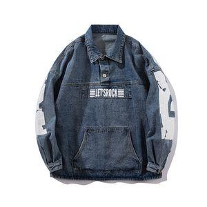 남성 재킷 패션 Casaul 힙합 데님 재킷 스웨터 까마귀 대형 포켓 긴 소매 재킷 편지 인쇄 가을 스트리트