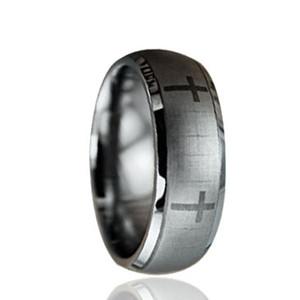 Incisione laser Crossing Tungsten Ring all'ingrosso 8mm per uomo
