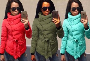 Belt Irregular Style Female Clothing Stand Collar Winter Casual Apparel Womens Winter Desinger Parkas Solid Color