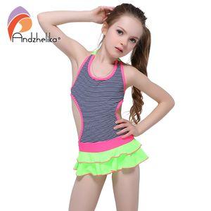 Andzhelika çocuk Elbise Mayo 2018 Yeni Tek Parça Katı Patchwork Bodysuit Çocuk Beachwear Swim Suit Mayo