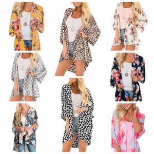 Kadınlar Leopard şifon plaj kapak yaz bahar çiçek baskı gündelik Batwing kol mayo kapak cape 50pcs LJJA2261 gevşek kimono