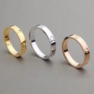 2019 New Classic Edelstahl Goldliebe verheiratet Verpflichtungs-Paar-Ring für eine Frau einen Mann Modedesigner ewige Liebe Schmuck mit Stempel