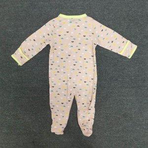 Printemps et Automnes géométrique Image manches longues en coton bébé Maillot une pièce 3 Piece Set 50cm (Rose Bleu Jaune)