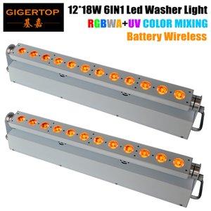 TIPTOP Hot Sale 2XLOT 12 * 18W 6in1 RGBAW UV a pilhas sem fio DMX512 LED Wall Washer Luz, Wifi Stage Washer Branco Housing