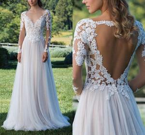 Design simples mangas compridas rendas boho chiffon vestidos de casamento sem encosto applique vestido de noiva custom made praia tulle vestido de noiva