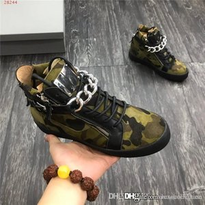 Последние Мужские полусапожки, замша телячьей кожи мужчины сапоги кроссовки с металлической цепью и пин-кодом в черном и камуфляже цвета с размером коробки 38-45