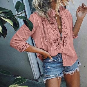 Womens Lace Ruffled Blouse Top Plus Size 5XL 3 4 Sleeve Patchwork Office Lady Womens Tops and Blouses 2020 Spring Summer Shirts