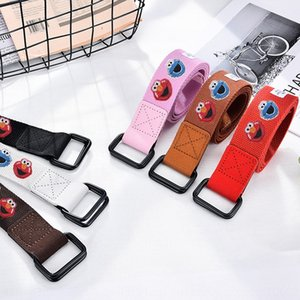 Cartoon woven canvas men's and Women's and Canvas Jeans General Electric Fusion paint black double-ring belt jeans belt