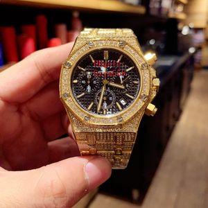 Luxury Watch Full Diamond Watch Alta qualità VK Cronografo al quarzo Movimento Sweep Move Acciaio inossidabile 316 Set Diamante Argento dorato