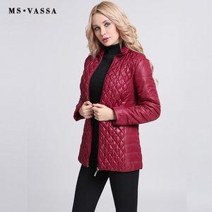 MS VASSA otoño Parkas Mujeres corto de algodón acolchado Jackets 2017 señoras acolchar moda capas elásticas más el tamaño 6XL 7XL prendas de vestir exteriores