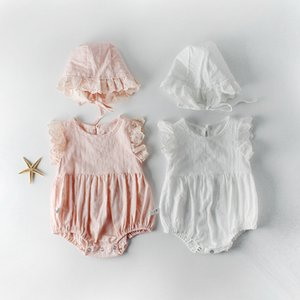 baby girl kids clothing climbing romper Flying Sleeveless Summer Solid Color Romper + Hat 100% cotton girl kid rompers 0-2T