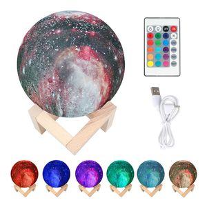 3D печати Starry Sky Moon Planet Lamp 7 Изменение цвета Rechargable Moon Night Light Touch переключатель Лампа для проектора