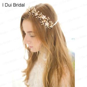 Cristal hecho a mano Perla Plata Oro Nupcial Headwear Novia Diadema Sombrero Tie backs Nupcial Casco Moda Nuevo estilo