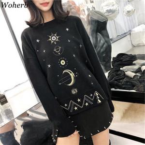 Woherb Harajuku Otoño Invierno Moda suéter bordado estrella de la luna gótica de tejer suéter Mujer Sueter Mujer Invierno 2019