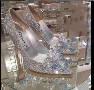 2020 Frauen hohe Absätze Hochzeit Silber Aschenputtel Schuhe sexy Dame Kristall-Plattformen Silber Glitter Diamanten Brautschuhe Absatz-Partei Pumpe