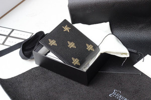 Best classic style fashion genuine leather men purse short wallet card holders purse letter credit card wallet for women with box1