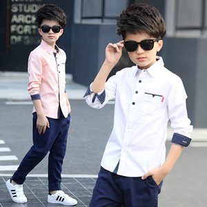 children clothing, spring autumn long sleeve shirt boys cotton blouses children young children fashion shirt 5 - 15 years turn down collar