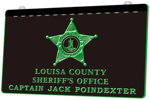 LD0117 0 Louisa County Sheriff's office Captain Jack Poindexter RGB Multiple Color Remote Control 3D Engraving LED Neon Light Sign Shop Bar