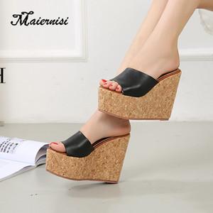 Chinelos de plataforma MAIERNISI mulheres calços de pés abertos Sandálias Senhoras Saltos Altos Sapatos casuais em casa ao ar livre Y200423