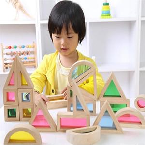 Montessori Ahşap Gökkuşağı Yapı Taşları 24 adet Oyuncaklar Çocuklar Için 6 Şekil 4 Saydam Renkler Brinquedo Oyuncak Brinquedos 47 Y190606