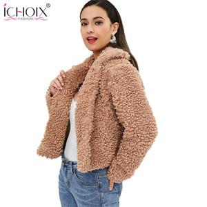 Ichoix 2019 kadınlar kış ceket uzun kollu kaşmir sıcak kısa palto ve ceketler kadın moda düğmeleri kalın ceket streetwear