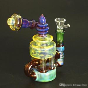 venda direta de grandes projetos bong de vidro, equipamentos DAB, cachimbos de água com azul irritou e artesanato corpo amarelo tubulação de água bowl 14 milímetros