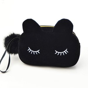 Portable Cartoon Cat Coin Storage Case Travel Makeup Flannel Pouch Cosmetic Bag Cases For Women Girls Toiletry Pouch Wash Kit