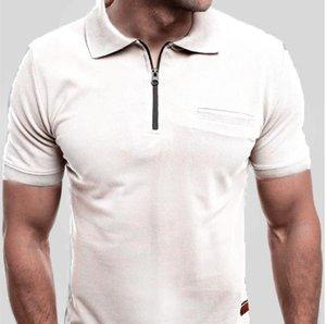 Mens de secado rápido clásico Polos Verano Casual sólidos de moda de manga corta T-shirts collar del soporte de la ropa del verano