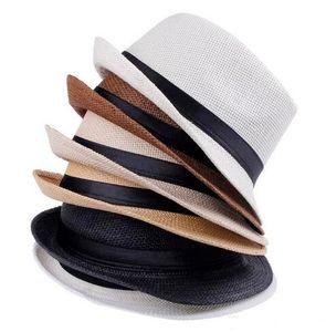 Sombreros de moda para mujer Sombrero de Panamá con sombrero de ribbow Band Sunhat de Fedora Trilby Gangster Summer Beach Sun Hat Envío gratuito EMS