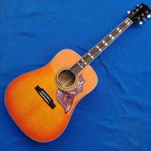 Factory Customized Buzz Desert Honey Sunburst Acoustic Electric Guitar, Parallelogram Fingerboard Inlay, Red Pickguard, Fishman 101 301 Pick