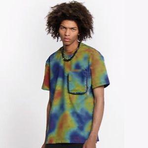 20SS 3D 인쇄 화려한 노란색 블루 티 T 셔츠 젊은 패션 반팔 여름 하이 스트리트 크루 넥 T 셔츠 통기성이 HFHLTX068 쿨