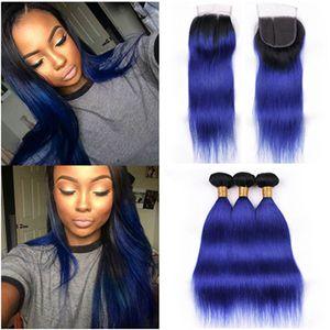 Черный с темно-синим Ombre Body Wave 3 пучки перуанских волос с закрытием Тело волнистое # 1B / синий Ombre 4x4 кружевной закрытием спереди с плетением