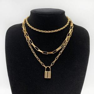 Novos colares inoxidável correntes de aço do punk cadeado mulheres gargantilha multicamadas correntes de metal cadeado goth acessório bijuterias