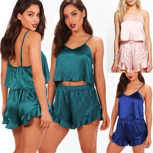 الحرير النساء لينة الحرير قمصان النوم مثير V الرقبة قمم + السراويل الملابس الداخلية بيبي دول ملابس نوم ملابس نوم مجموعة