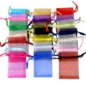 100pcs 7x9cm Faveur de mariage Pouch organza Bijoux Sac cadeau Bijoux Cadeaux Fête bonbons anniversaire Favors Emballage