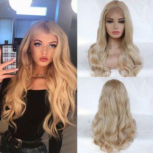 Sintética mezclada Rubio onda del cuerpo de la peluca sin cola alta Tempareture fibra del pelo del frente del cordón pelucas para el uso diario densidad de 150% Negro peluca llena de las mujeres