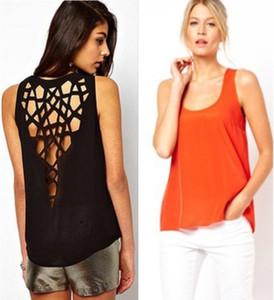 Плюс размер XXXL 2015 новая мода без рукавов назад выдалбливают хлопчатобумажная рубашка женская одежда High Street блузка сексуальные женщины блузка