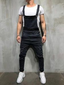Moda Erkekler Sıkıntılı Denim Carpenter tulumları Önlüğü Yeni Sıcak Tulumlar Biker Jean Pantolon Destroyed