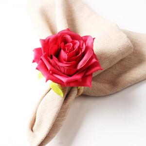 30pcs Düğün Gül Peçete Halkası Çiçek Peçete Halkası hissedin Simülasyon Çiçek Toka