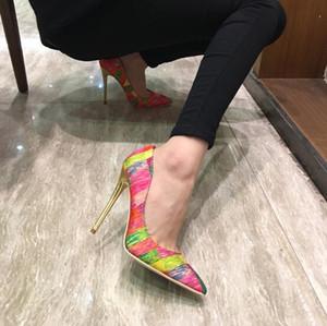 Logo Kutusu Yeni Moda Büyü Renk Yüksek Topuk Kadın Ayakkabı Seksi nokta Toes Stiletto Ince Topuklu Seksi Birde Düğün Ayakkabı, Kadın Parti Elbise Ayakkabı
