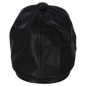 Boys and girls Leather Beret Cap Vintage Peaked Hat Newsboy Sunscreen Top Hat Black
