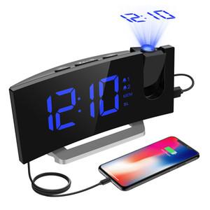 HM353 Radio FM Projection réveil avec double alarme Fonction Snooze Avec USB port de charge 5 « » Grand écran en veille